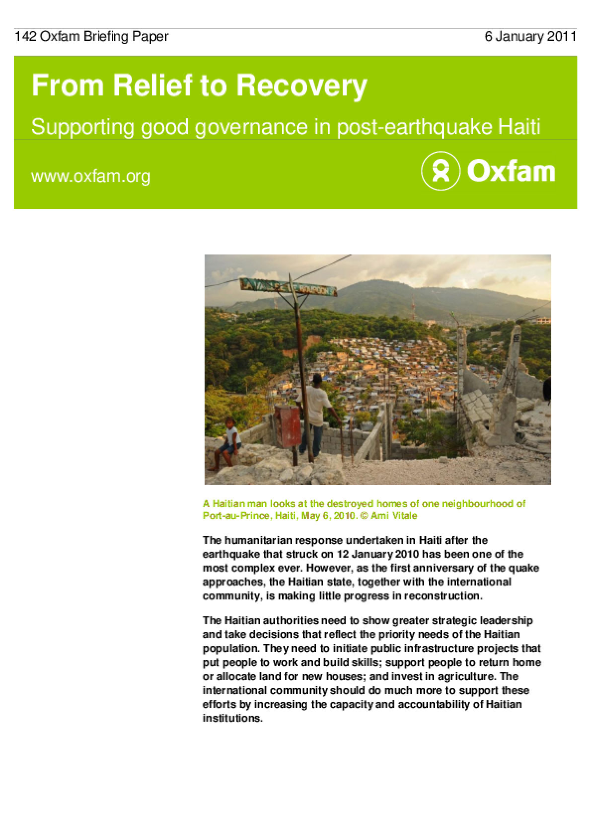 From Relief to Recovery: Supporting good governance in post-earthquake Haiti