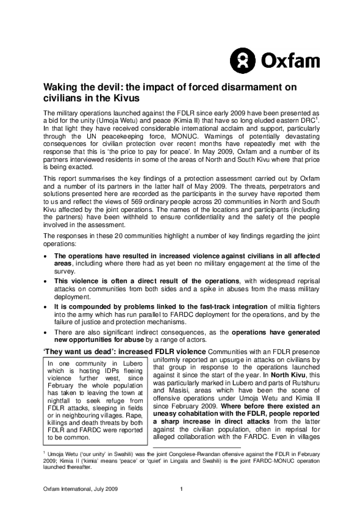 Waking the Devil: The impact of forced disarmament on civilians in the Kivus