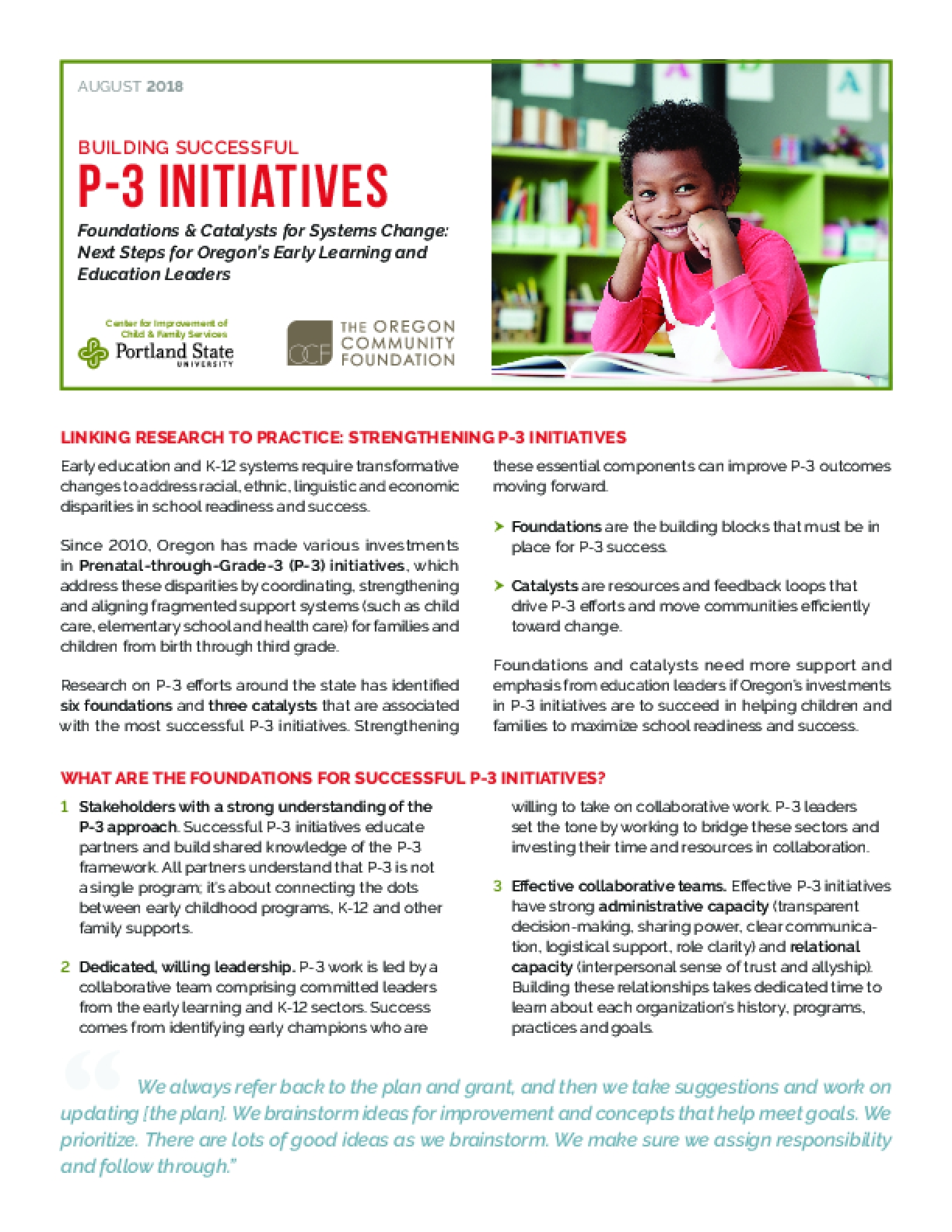 Foundations & Catalysts for Systems Change: Next Steps for Oregon's Early Learning and Education Leaders