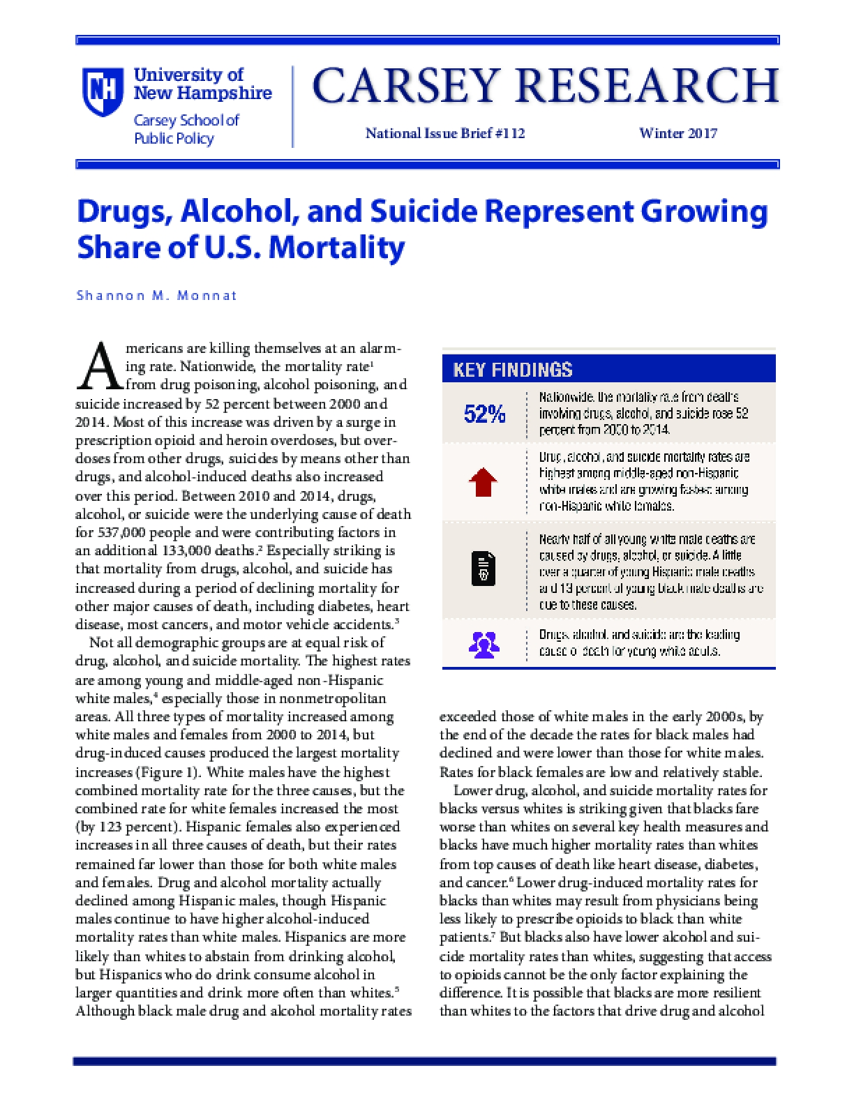 Drugs, Alcohol, and Suicide Represent Growing Share of U.S. Mortality
