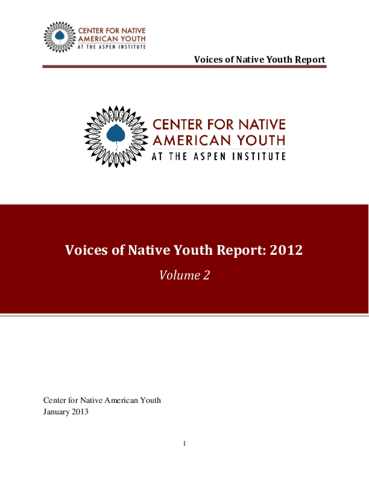 Voices of Native Youth Report Volume 2