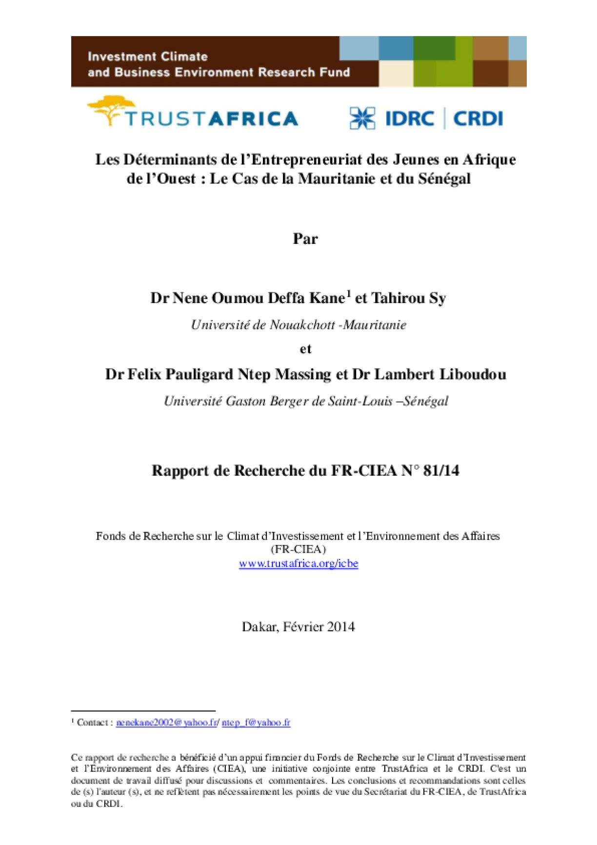 Les Déterminants de l'Entrepreneuriat des Jeunes en Afrique de l'Ouest : Le Cas de la Mauritanie et du Sénégal