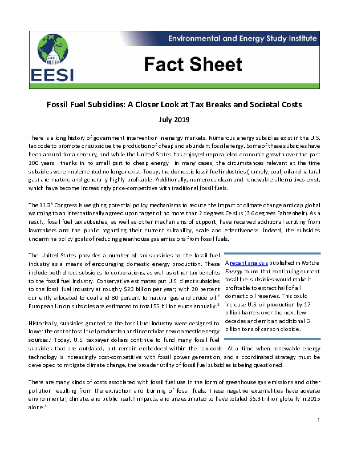 Fact Sheet: Fossil Fuel Subsidies: A Closer Look at Tax Breaks and Societal Costs