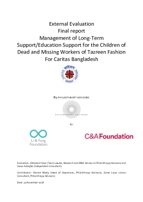 External Evaluation Report for Management of Long-Term Support/Education Support for the Children of Dead and Missing Workers of Tazreen Fashion