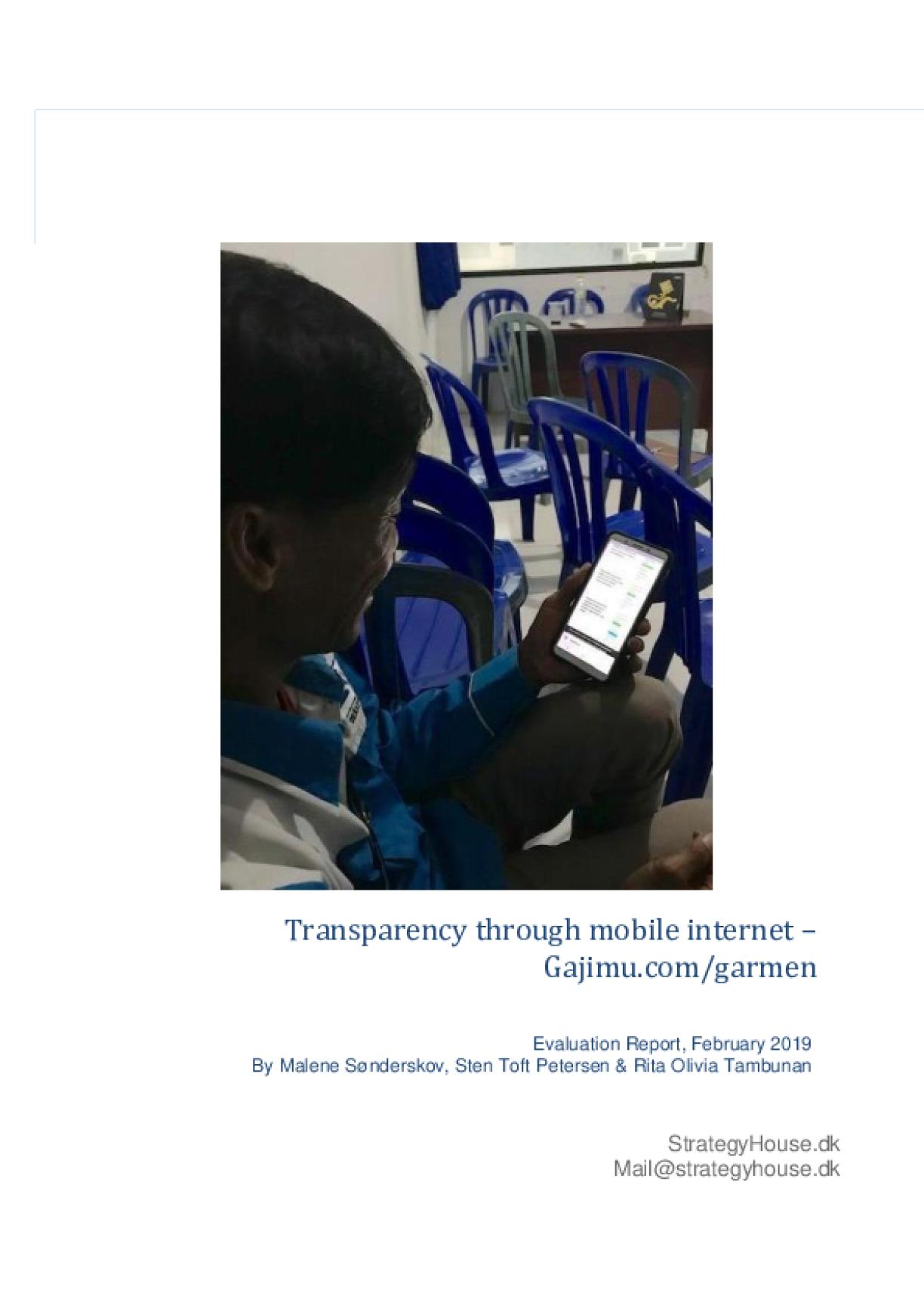 External Evaluation Report of Transparency Through Mobile Internet - Gajimu.com/garmen