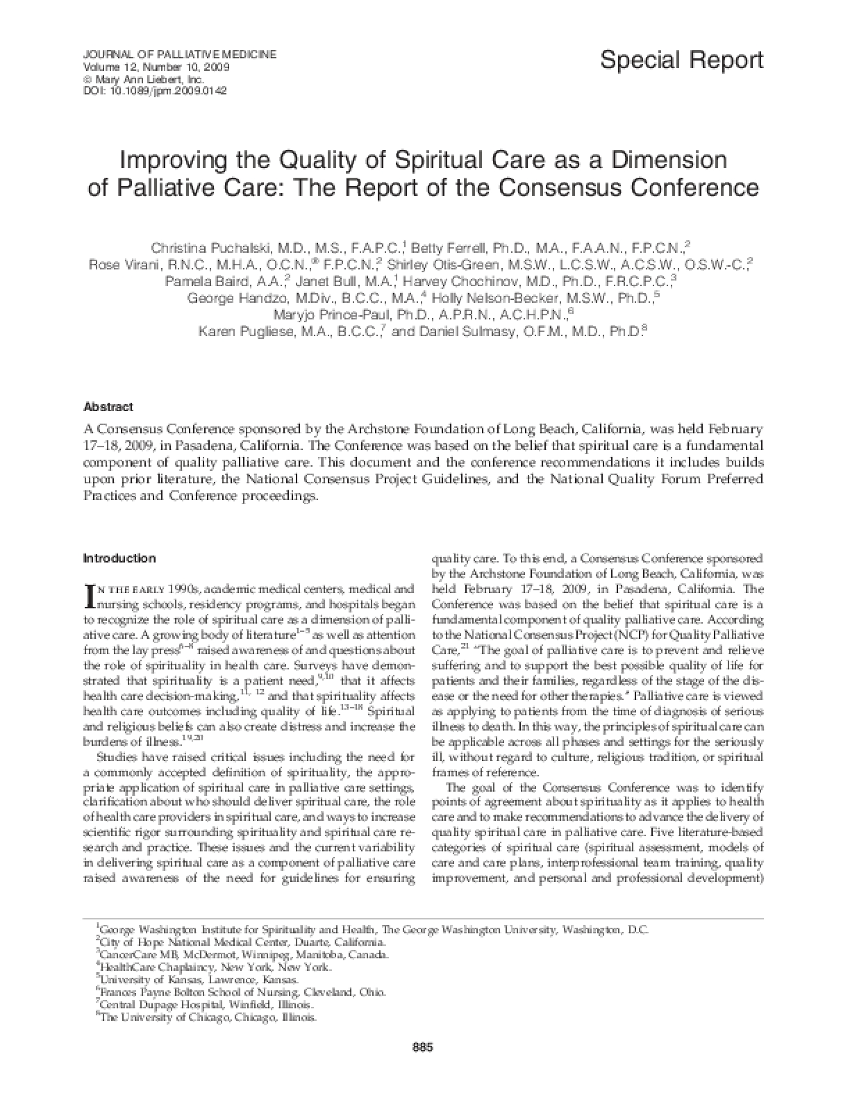 Improving the Quality of Spiritual Care as a Dimension of Palliative Care: The Report of the Consensus Conference