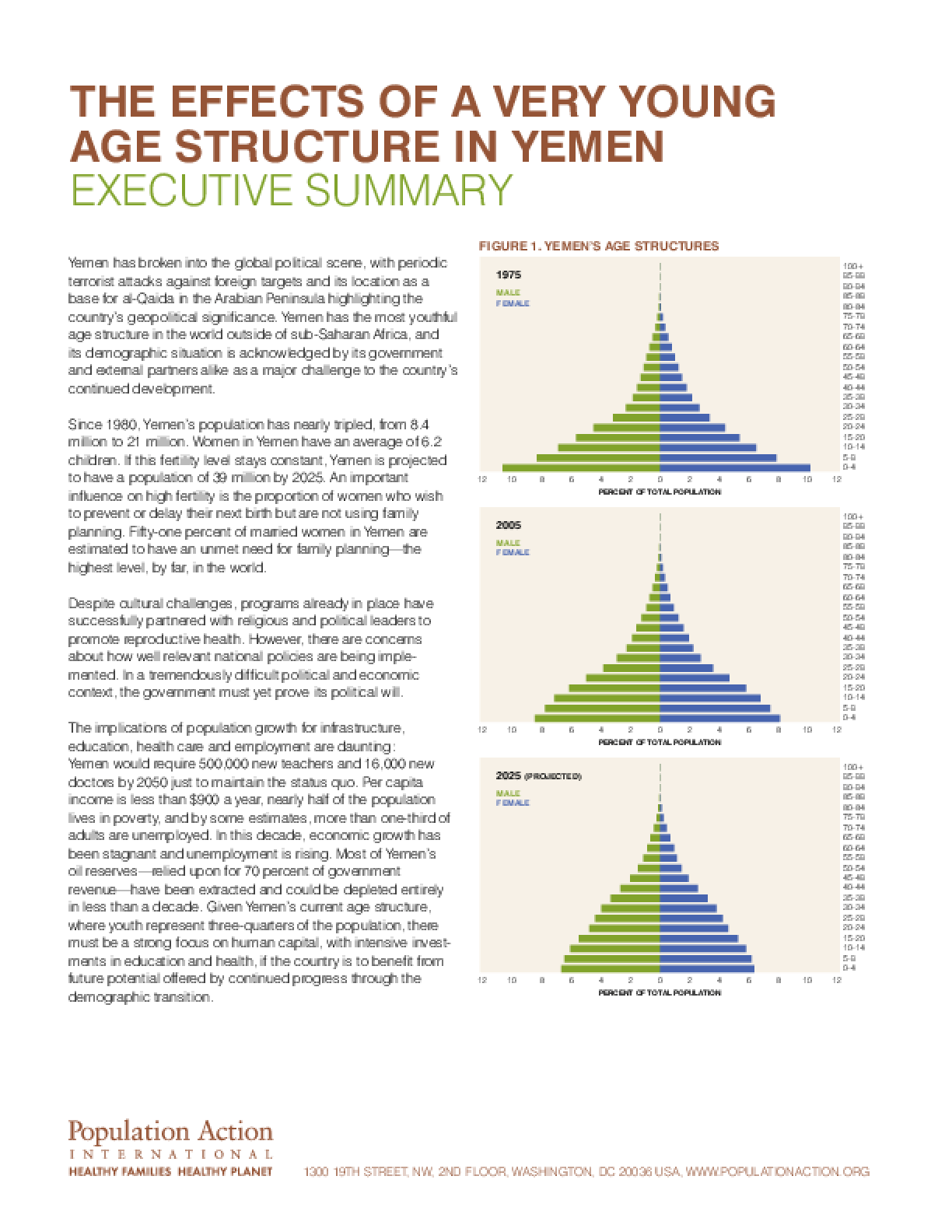 The Effects of a Very Young Age Structure in Yemen: A Country Case Study