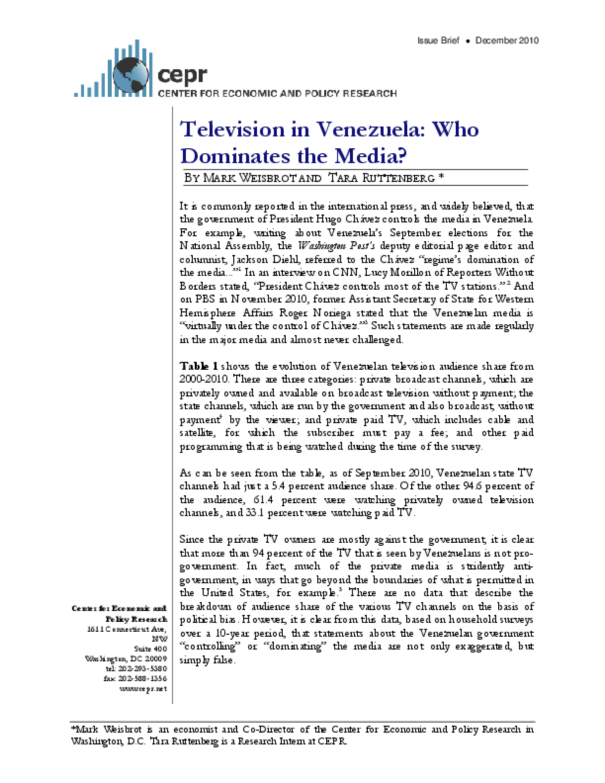 Television in Venezuela: Who Dominates the Media?