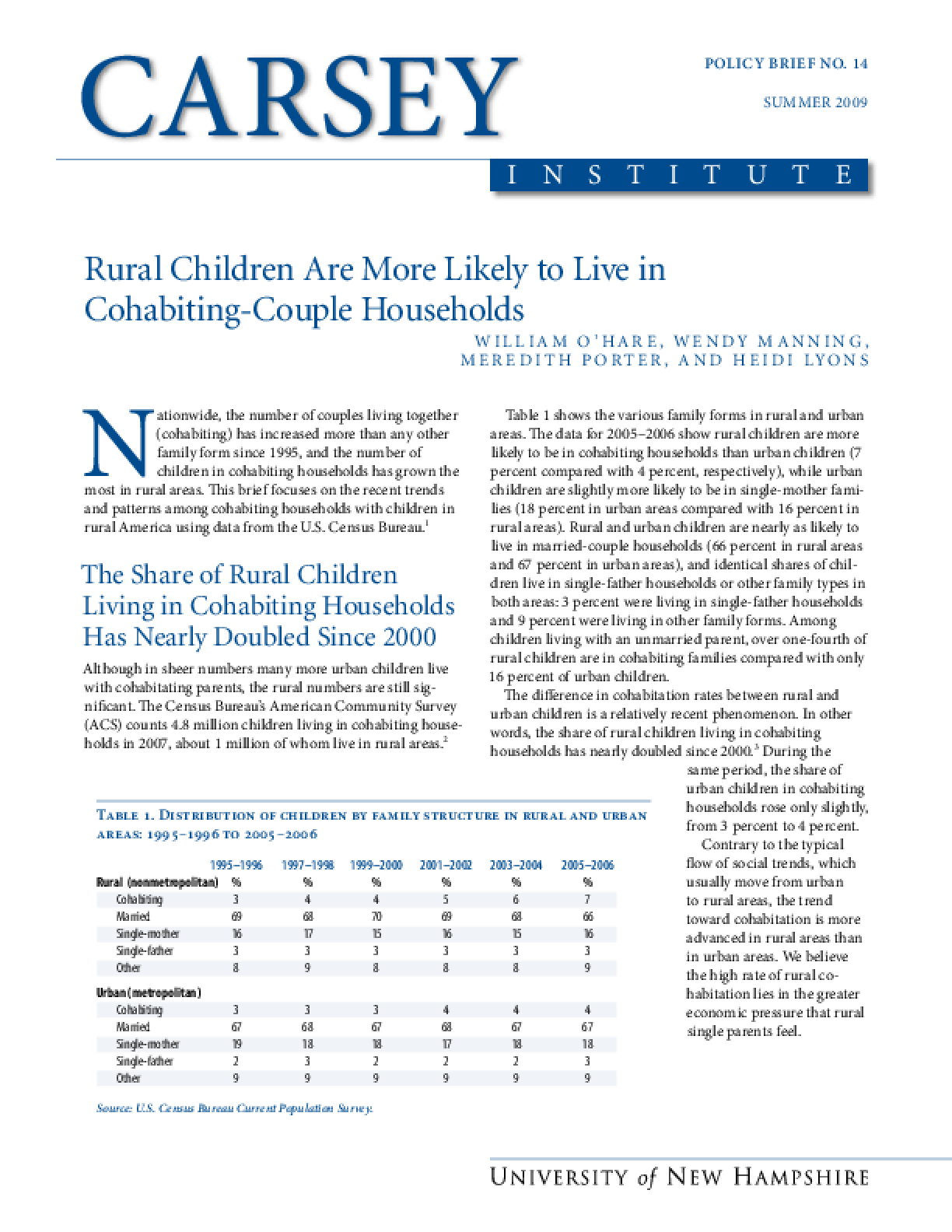 Rural Children Are More Likely to Live in Cohabiting-Couple Households