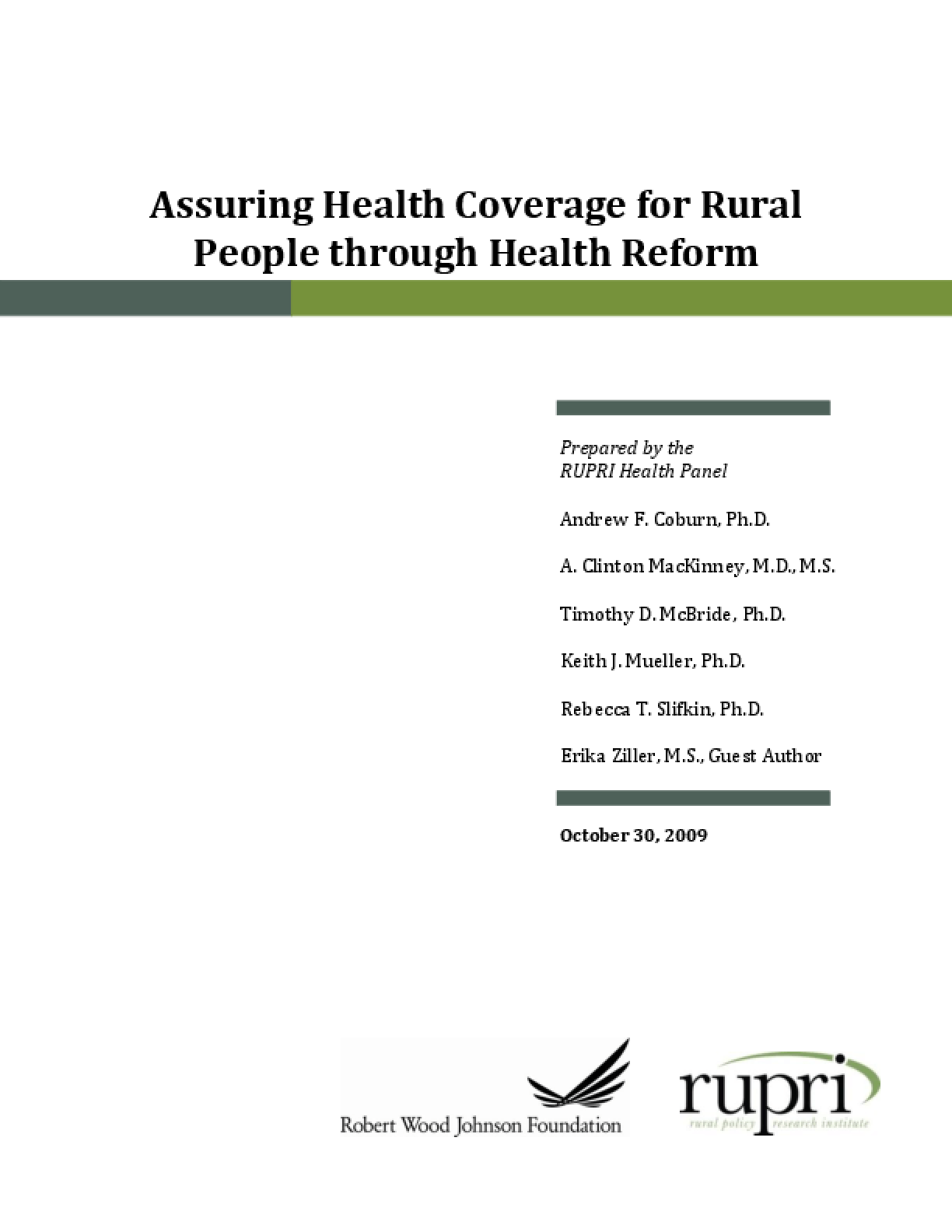 Assuring Health Coverage for Rural People Through Health Reform