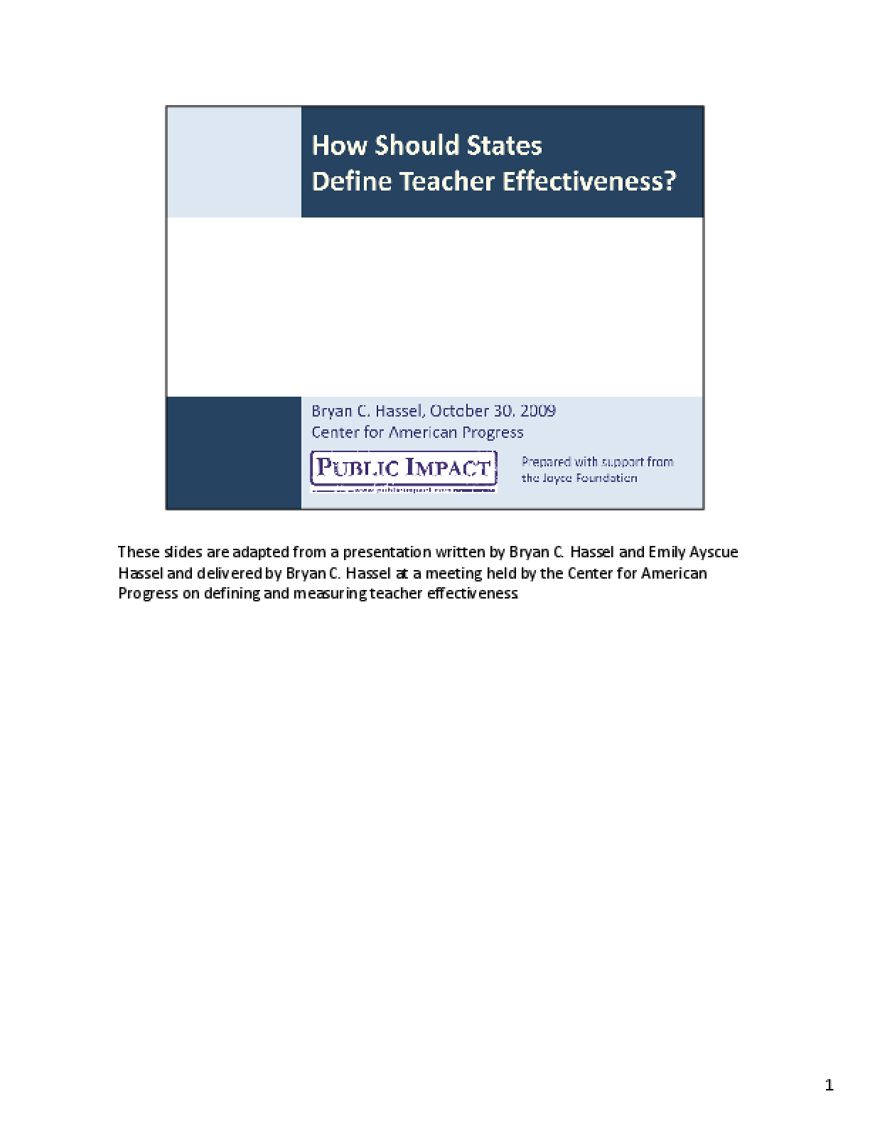 How Should States Define Teacher Effectiveness?